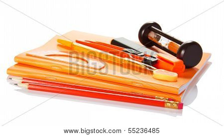 Exercise book, accessories to the letter