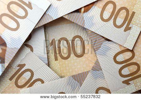 New one hundred dollar bill background; photo taken on December 2013