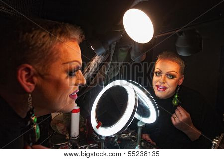 Drag Queen In Makeup Room