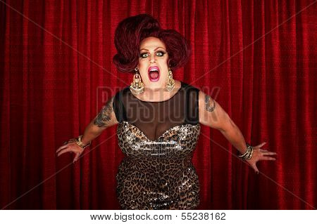 Drag Queen Screaming Or Singing