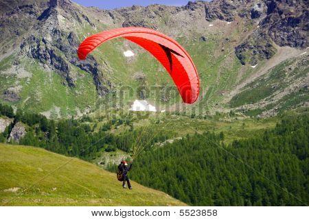 Paragliding In Flight