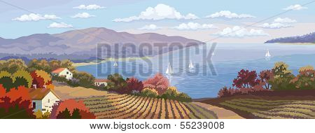 Rural Landscape And Sea Panorama.