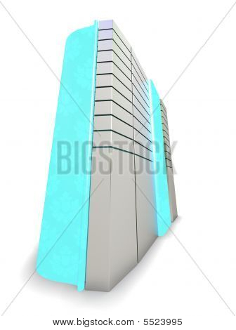 Computer case with blue Glass