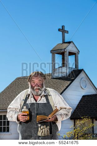 Old West Drunkard Holds Bible