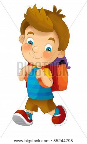 Cartoon child going to the school - illustration for the children