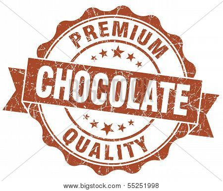 Chocolate Brown Vintage Seal Isolated On White