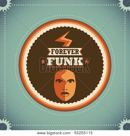 Retro funk poster. Vector illustration,