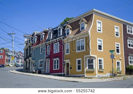 The unique architecture of the homes in downtown St. John's, Newfoundland, Canada.
