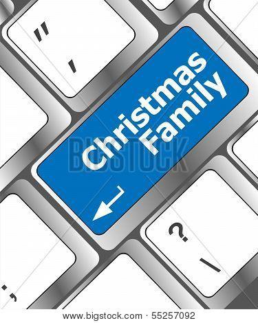Christmas Family Message Button, Keyboard Enter Key