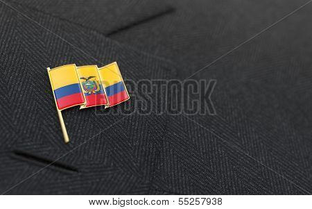 Ecuador Flag Lapel Pin On The Collar Of A Business Suit
