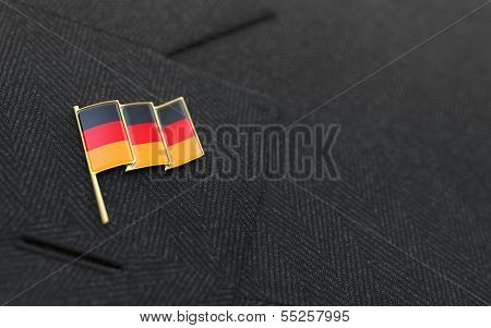 Germany Flag Lapel Pin On The Collar Of A Business Suit
