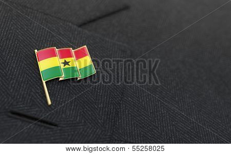Ghana Flag Lapel Pin On The Collar Of A Business Suit