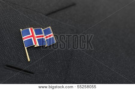 Iceland Flag Lapel Pin On The Collar Of A Business Suit