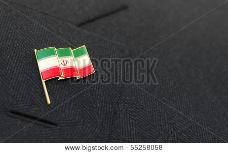 Iran Flag Lapel Pin On The Collar Of A Business Suit