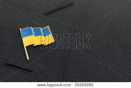 Ukraine Flag Lapel Pin On The Collar Of A Business Suit