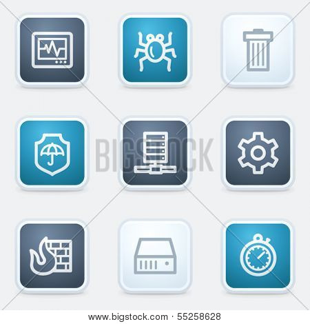 Internet security web icon set, square buttons
