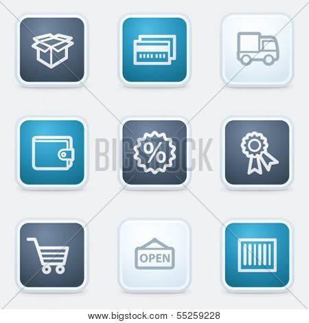 Shopping web icon set 2, square buttons