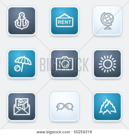 Travel web icon set 5, square buttons