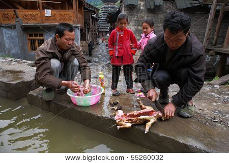 Rural Men Asians Gutting Dog In The Presence Of Children.