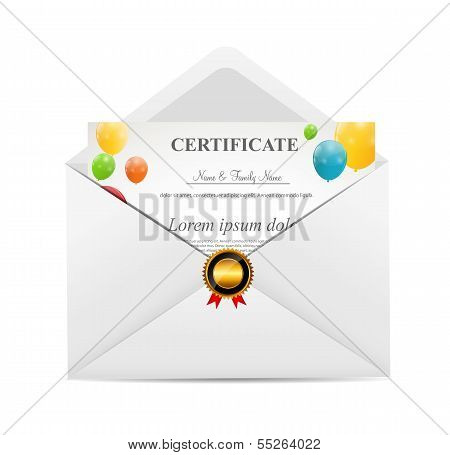 White Envelope with Certificat Vector Illustration