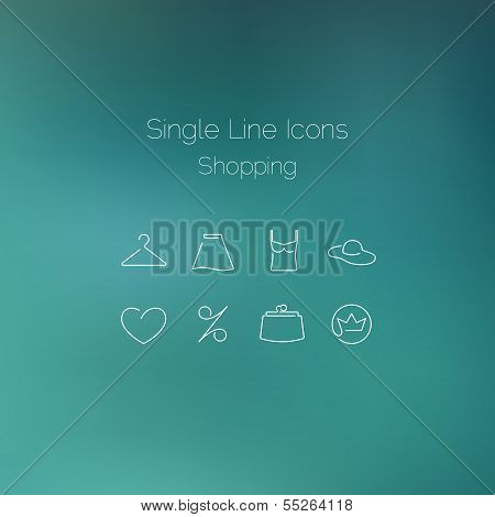 Shopping icons set drawn with single line.