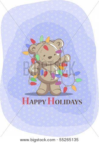 Christmas greeting card - Cute bear and christmas lights