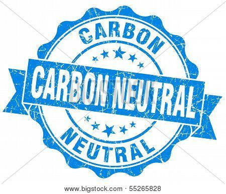 Carbon Neutral Blue Vintage Seal Isolated On White
