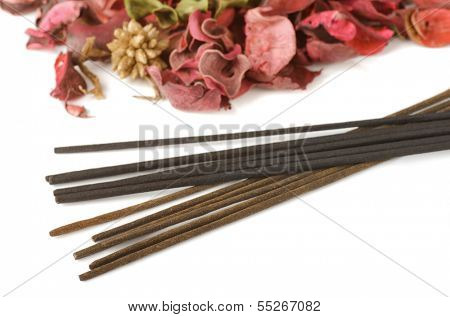 Incense and potpourri isolated on white