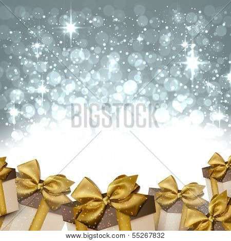 Silver winter abstract background. Christmas background with gift boxes. Vector.