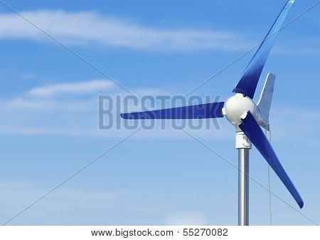 Wind Turbine Producing Alternative Energy Renewable Power On Blue Sky