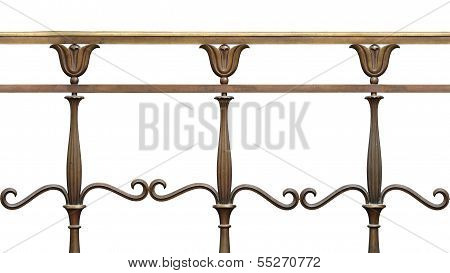 Art Nouveau Brass Fence With Stylized Flowers, Tilable And Seamless Repeating Horizontally.