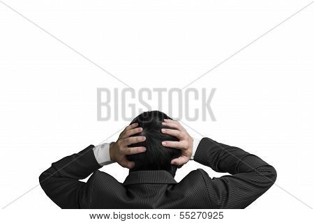 Businessman With 2 Hand Hold Head With Chagrin Expression Isolated In White