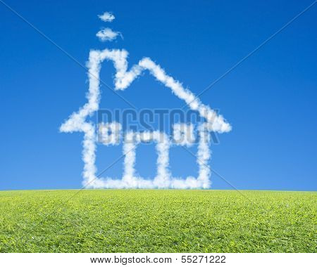 Beautiful Landscape With Green Meadow, Clean Blue Sky And Dream Cloud House