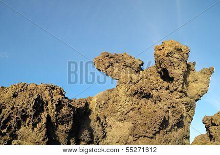 Dry Hardened Lava Rocks