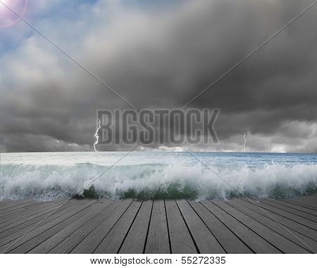 Pier flooded by waves with cloudy sky, Lightning
