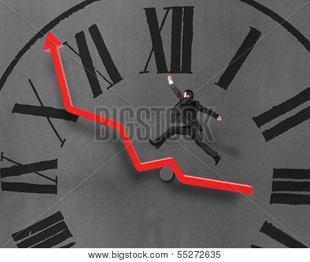 Man Running And Jumping On Growth Red Arrow, Chock Face
