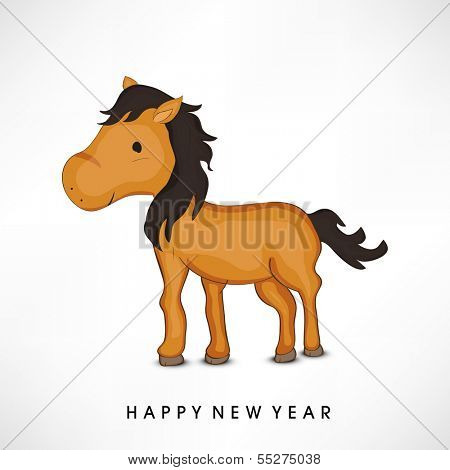 Happy New Year 2014 celebration flyer, banner, poster or invitation with stylish text and Chinese symbol of the year Horse on grey background.