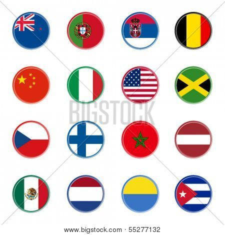 world flag icons - stickers 1/4 (official colors)