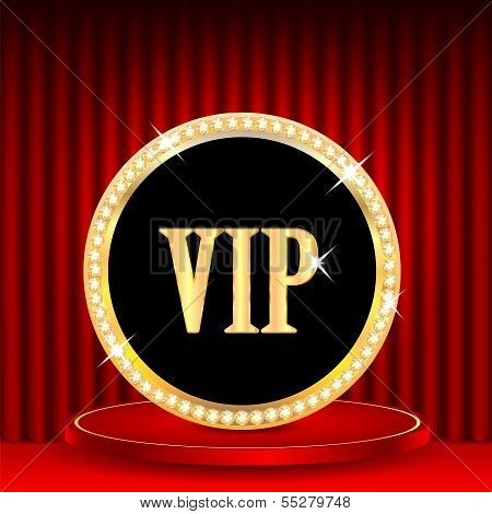 Icon In Gold With Jewels And The Word Vip.vip Mark On The Podium On A Background Of Red Portieres