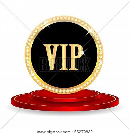 Vip Mark On A Red Podium Isolated On White Background.vip Mark In Gold With Jewels