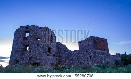 Moonlit Castle Ruin Hammershus With The Star Sign Cassiopeia In The Background