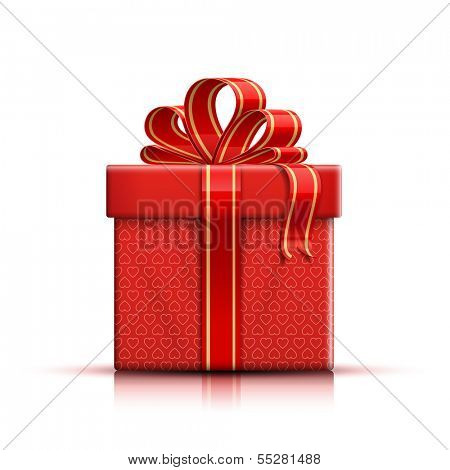 Valentine red gift box with heart shapes, ribbon and bow. Vector illustration
