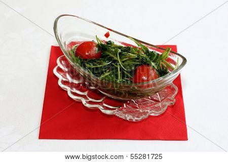 Ruccola salad and cherry tomatoes