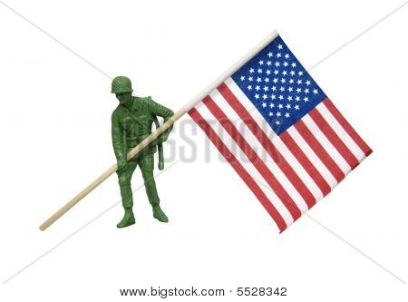 Soldier Carrying American Flag