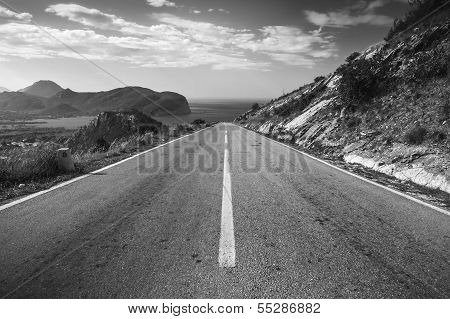 Dividing Line, Coastal Mountain Highway In Montenegro