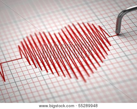 ECG. Electrocardiogram and heart  beat shape. 3d