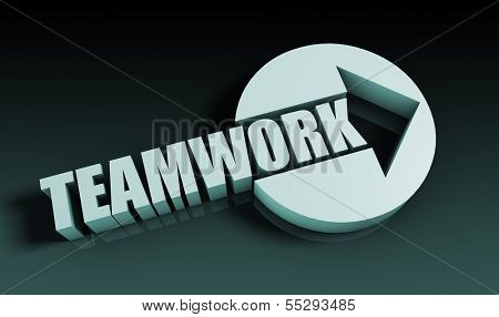 Teamwork Concept With an Arrow Going Upwards 3D