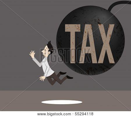 Tax Sign Crash The Man