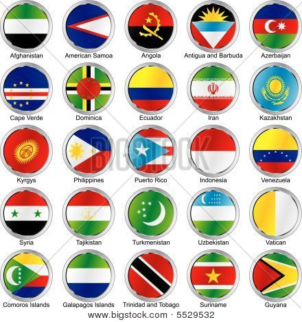 Vector Illustration Of Editable Isolated International Flags