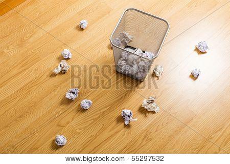 Trash bin and paper ball